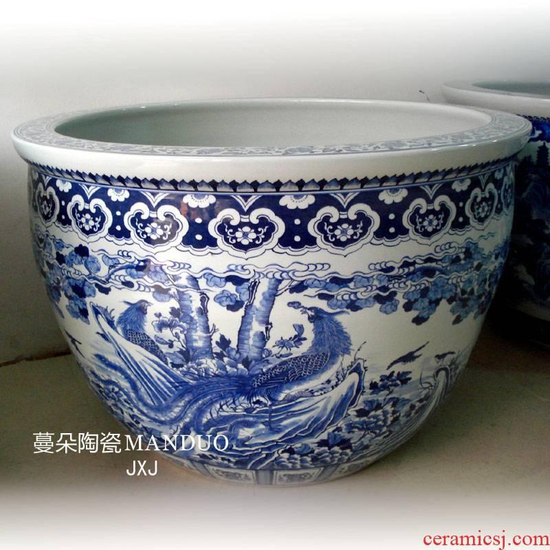 Jingdezhen hand - made double phoenix grain porcelain big cylinder 80-120 - cm diameter 60-85 cm tall cylinder cylinder