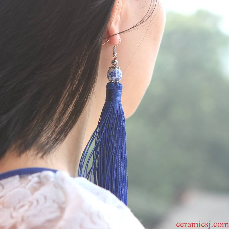 QingGe dazzle see colour fashion ceramic tassel earrings eardrop national wind what checking retro stalls in the supply of goods
