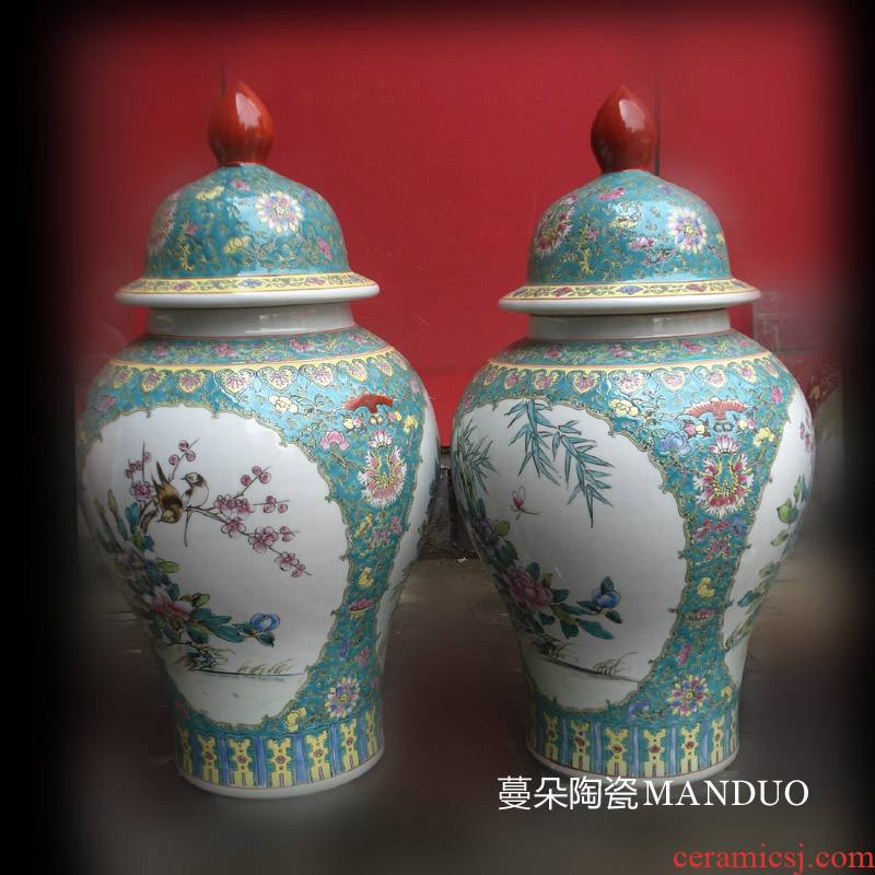 Jingdezhen general famille rose porcelain hand - made can open the general character flower porcelain pot antique painting
