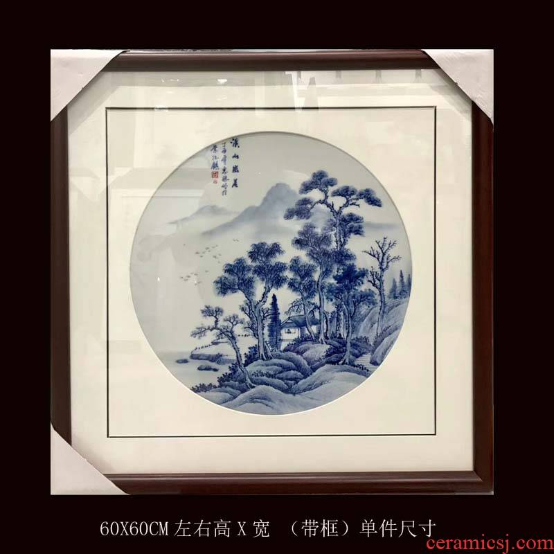 Jingdezhen blue and white with 60 x60cm hand - made solid wooden frame and classic blue and white porcelain plate collection gift porcelain plate paintings