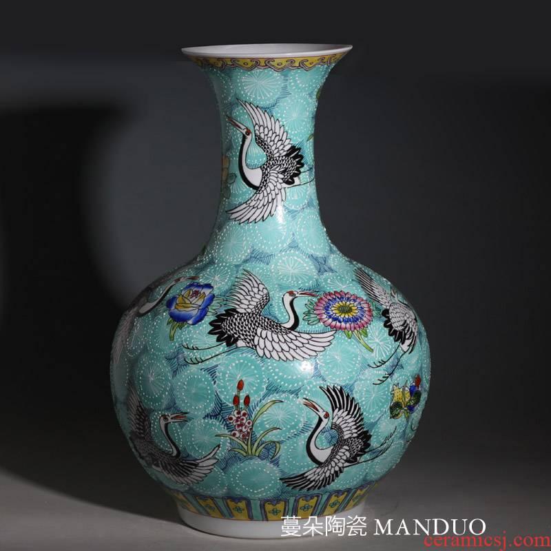 Jingdezhen 55 cm high hand - made imitation the qing qianlong cranes hand - made porcelain vases display vase