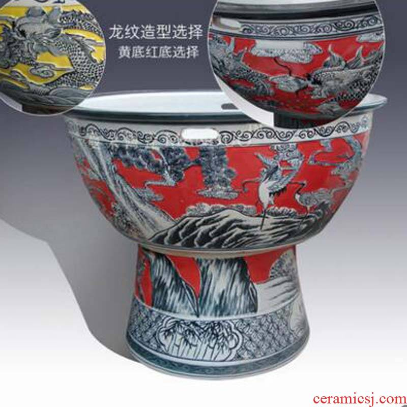Key-2 Luxury art carving dragon cranes stripes red bottom big ceramic cylinder tall courtyard temple buddhist temple cylinder
