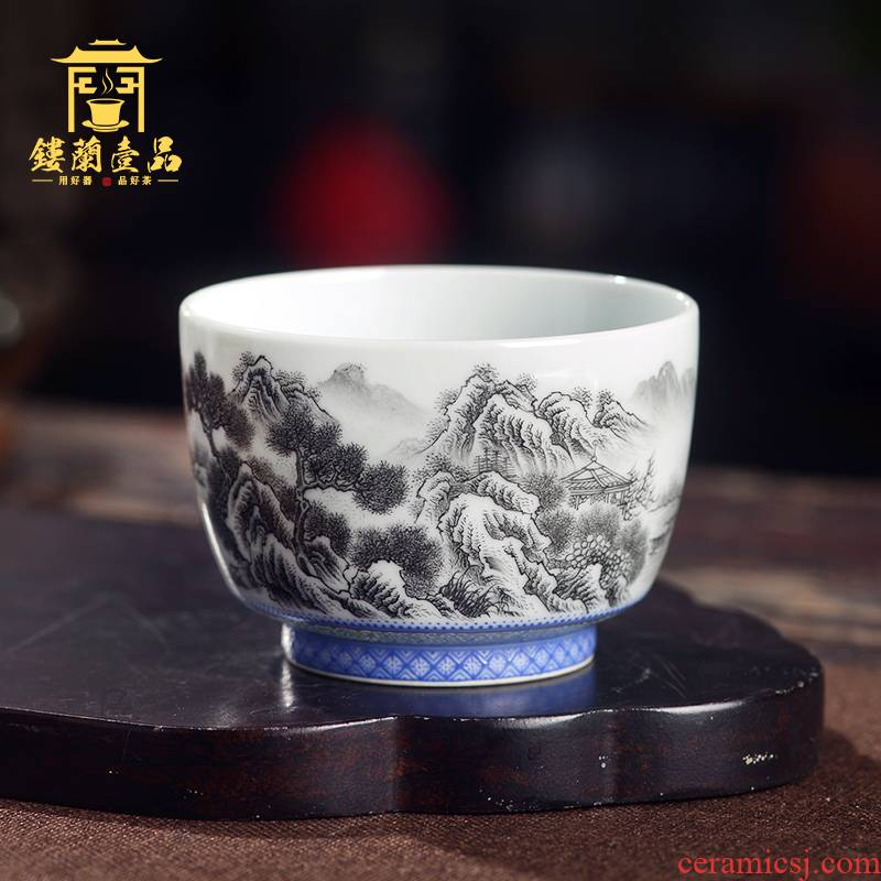 Jingdezhen ceramic hand - made color ink jiangnan spring scenery all masters cup personal kung fu ceramic tea set a single cup of tea cup
