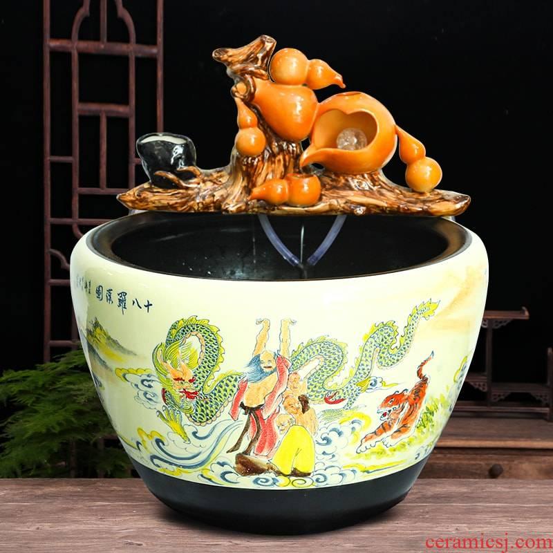 Ceramic aquarium fish bowl sitting room ground black up water lotus lotus large furnishing articles courtyard balcony