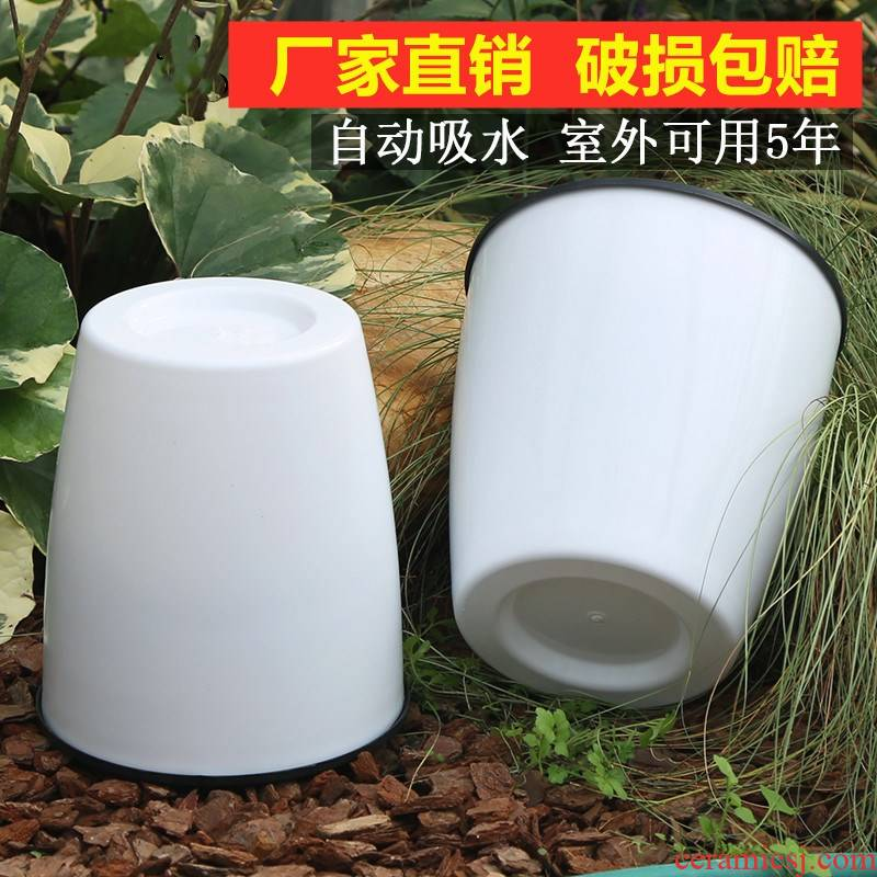 Lazy people bake potted flower pot water ridging other white water automatic suction pot from the plastic imitation ceramic POTS