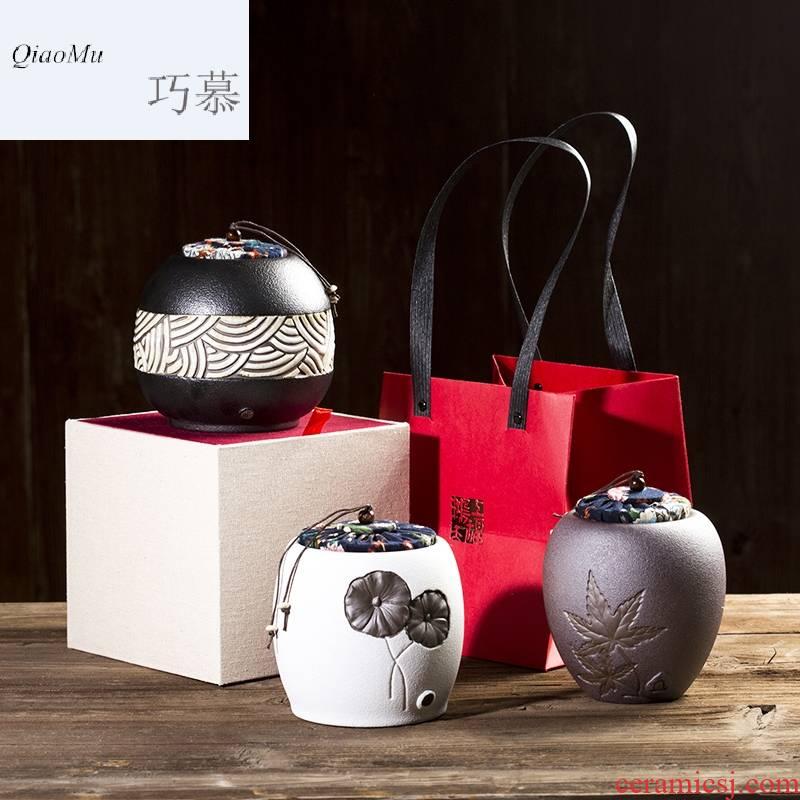 Qiao mu CMJ coarse pottery caddy fixings ceramic POTS awake seal pot tea, green tea large savings puer tea pot