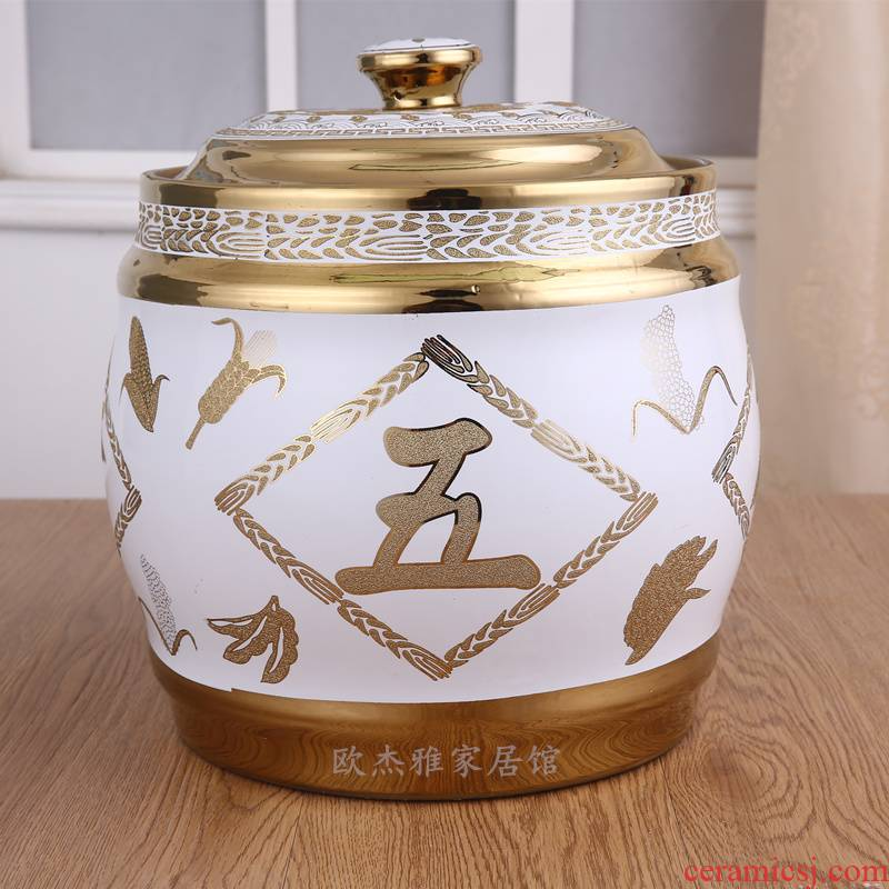 Ceramic barrel ricer box with cover 20 jins of stored grain sealing of eat by moth household kilograms of good harvest