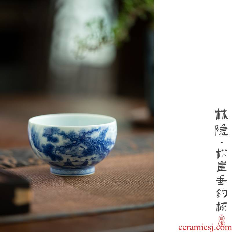 Lin Yin pine cliff fishing cup of jingdezhen blue and white master cup single hand - made glass ceramic cups kung fu tea set
