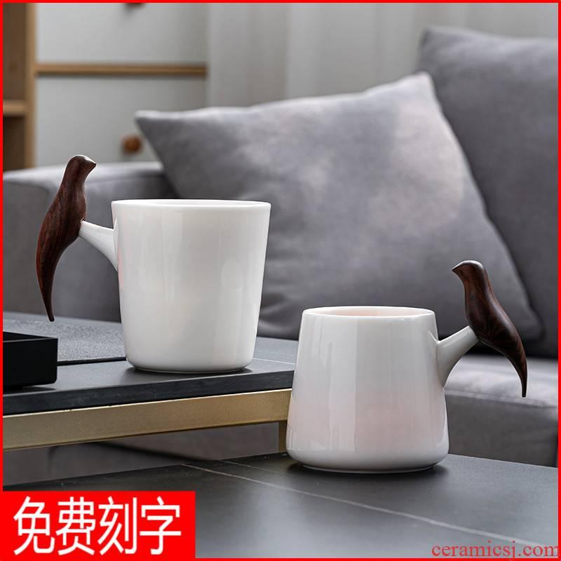 Creative dehua white porcelain suet jade picking keller cup gift box glass ceramic cup custom wedding presents