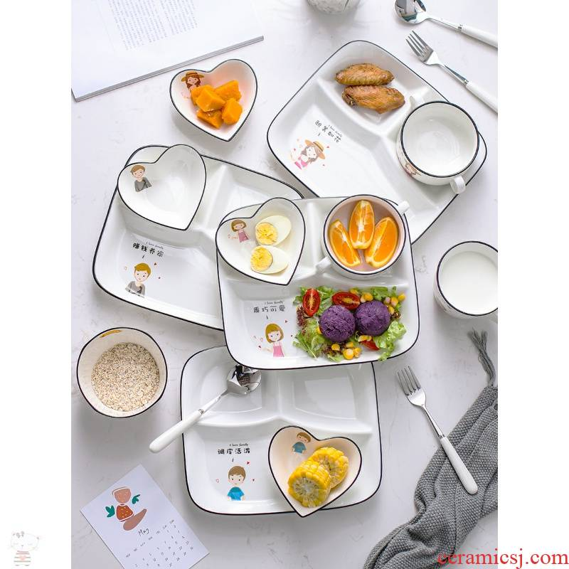 Litres of wei heng frame reduced fat dinning plate feed one person household family breakfast ceramic tableware children three decided to lose weight