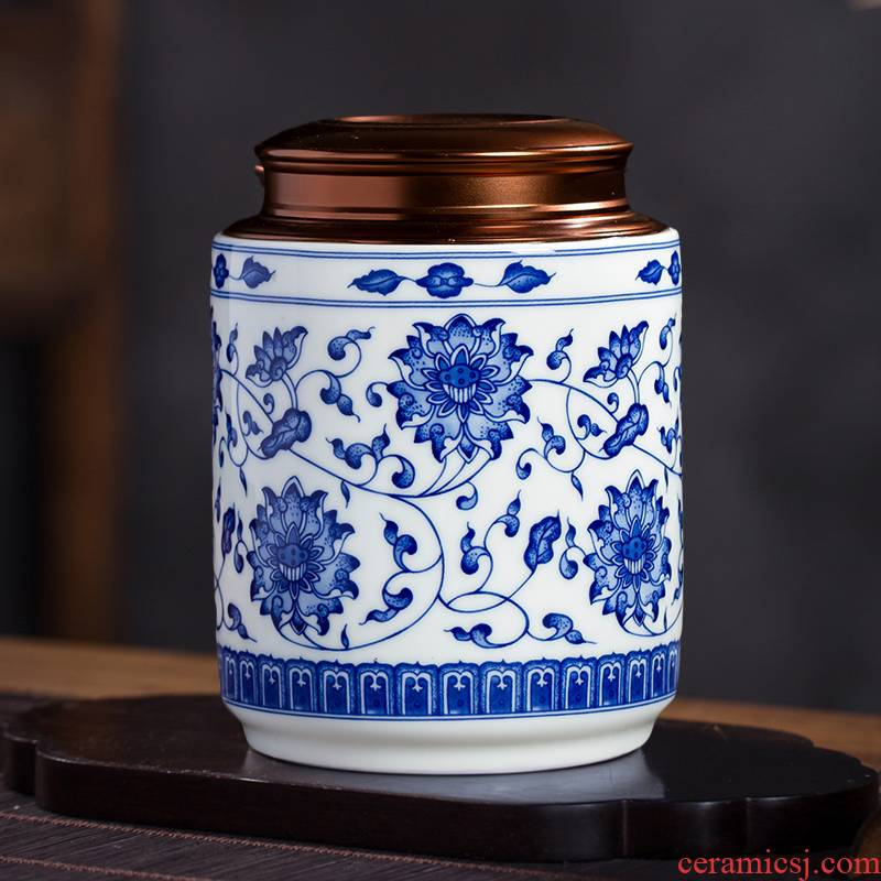 Blue and white half jins of jingdezhen ceramics with caddy fixings household of Chinese style loose tea and tea moisture proof seal storage tank