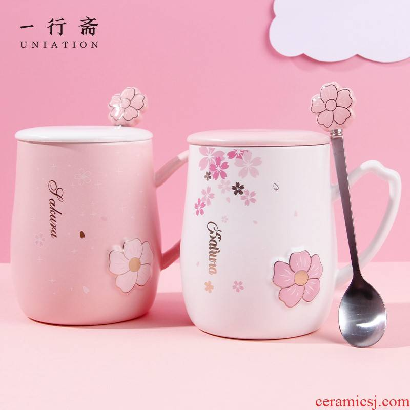 Japanese creative cherry blossom put ceramic cups with cover teaspoons of heat - resistant glass home office girl relief mugs