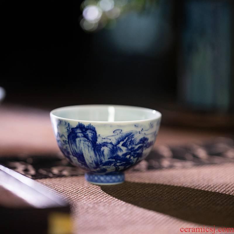 Castle peak day room meandering heart cup blue hand - made master kung fu tea cup of jingdezhen ceramic tea set