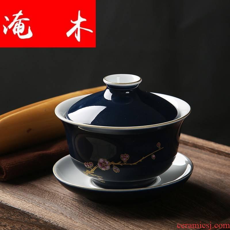 Submerged wood tureen large kung fu tea cups three bowl of jingdezhen ceramic tea set hand - made restoring ancient ways of tea