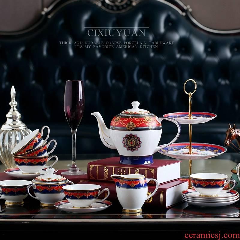 Qiao mu coffee cup suit European tea coffee ipads China English afternoon tea tea red disc ceramic cups of tea