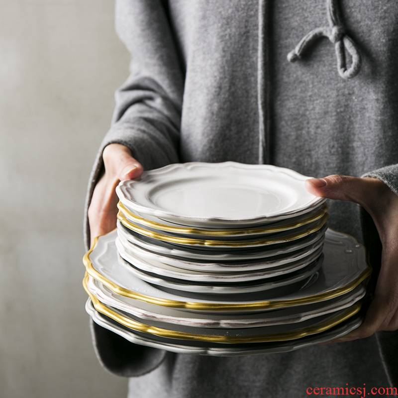 Qiao mu DY creative ceramic disc western food steak plate salad plates special - shaped restoring ancient ways round expressions using plate of Japanese new home