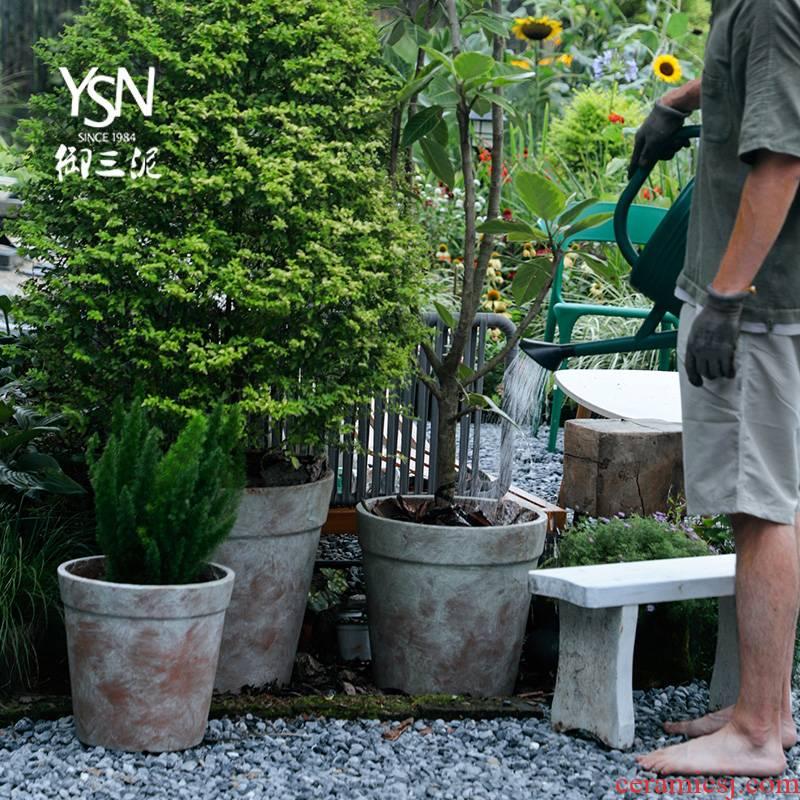 Royal three kind of saplings in mud fleshy red pot do old coarse pottery flowerpot legend garden hotel decoration restoring ancient ways