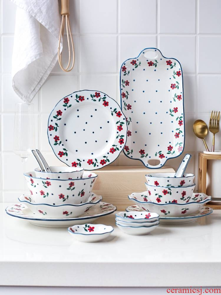Qiao mu CDW ooze Japanese home dishes suit ceramic tableware suit TZ - eat dish bowl bowl set to use