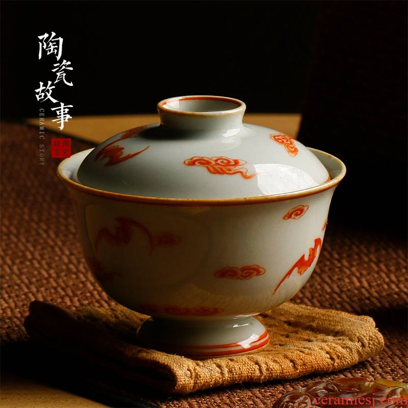 High - end checking hand - made ceramic story town tureen three tureen single best tureen, good fortune