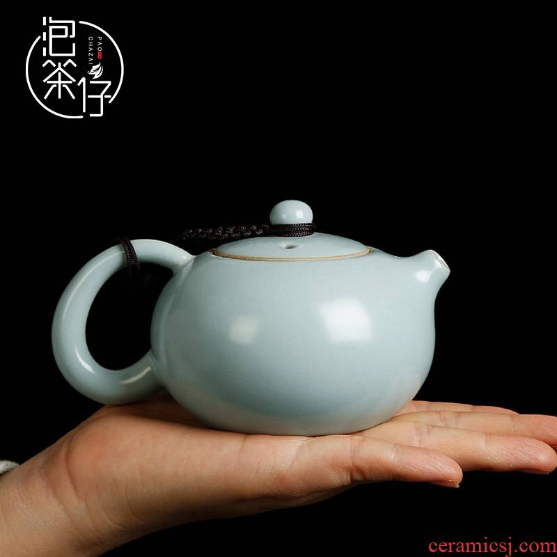 Teapot to open the slice your up with azure glaze xi shi pot of kung fu tea set little Teapot single pot on your porcelain ceramic household
