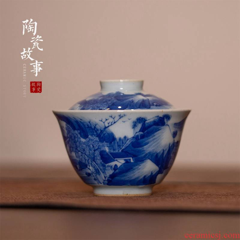 High - end checking hand - made ceramic story town tureen three tureen single kangxi landscape small tureen