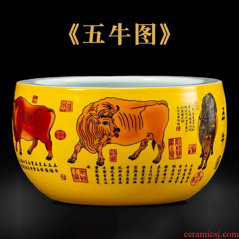 Jingdezhen ceramics cornucopia tank five NiuTu sitting room of Chinese style household hydroponic flower pot container decorative furnishing articles