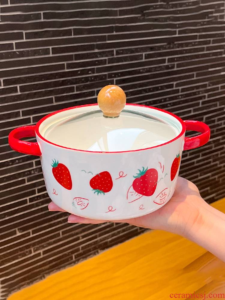 Microwave bowl mercifully rainbow such as bowl with the student dormitory for large capacity glass with cover single ceramic bowl of rice