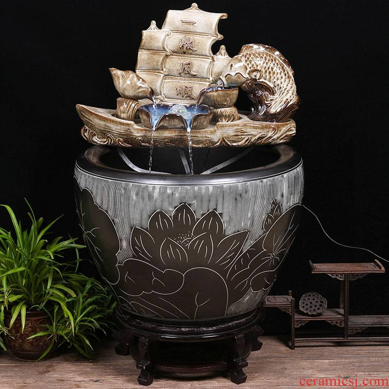 Ceramic tank sitting room circulating water tank large lucky place balcony and courtyard big fish bowl lotus cylinder