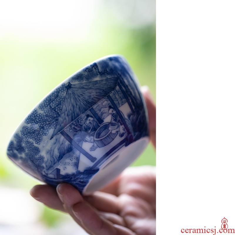 Xiao qiu Lin bamboo up members figure of jingdezhen blue and white master single hand - made ceramic cups cup kung fu tea set