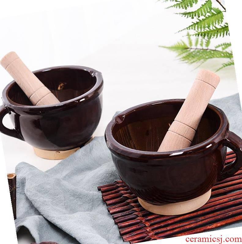 Concrete is mustard pot ceramic grinding dao garlic to use ceramic bowl manual garlic pepper twisting stone grinding to use multi - function