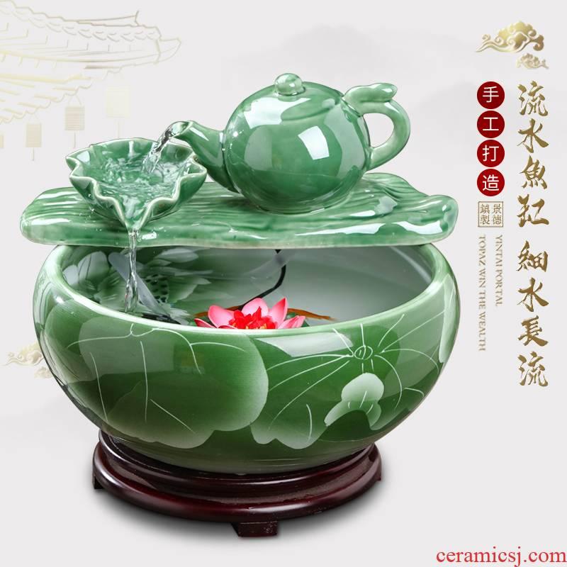 Jingdezhen ceramic fountain circulating water tank furnishing articles office desktop TV ark home sitting room adornment