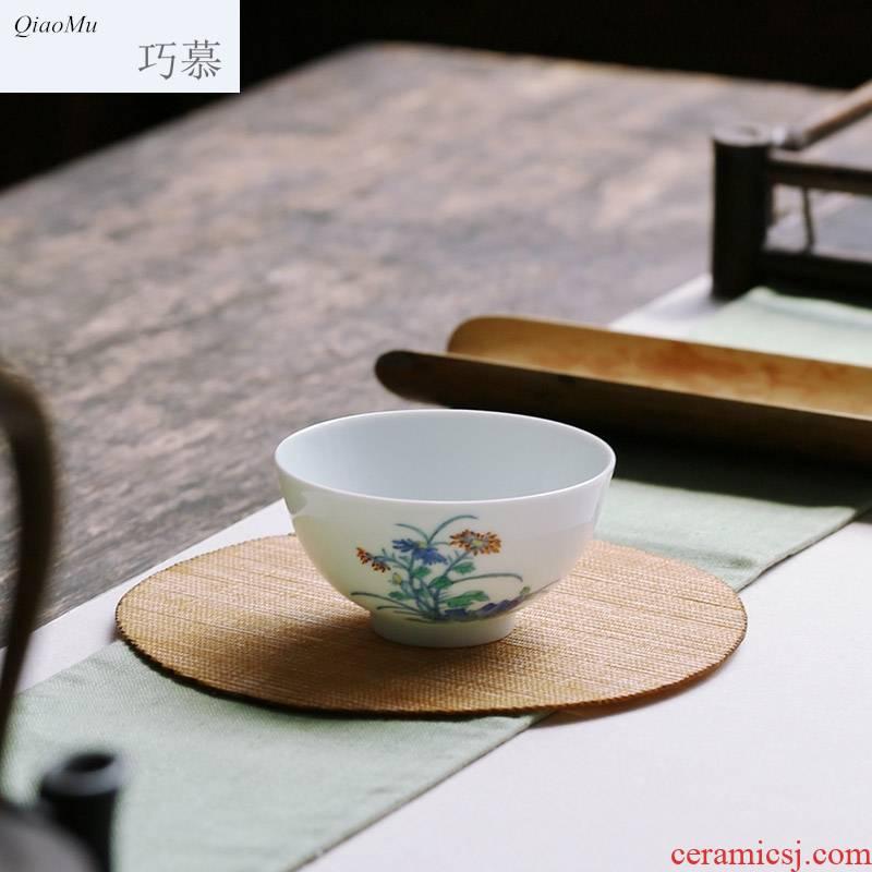Qiao mu JYD archaize of jingdezhen blue and white stones fight yongzheng by grain to use hand made sample tea cup ceramic tea set