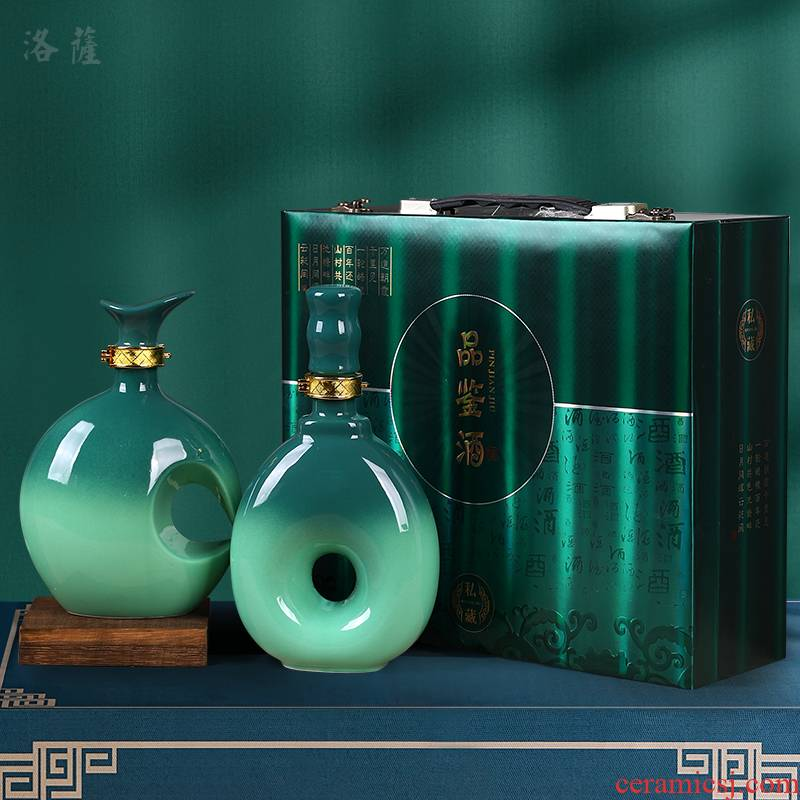 Jingdezhen ceramic 1 catty the an empty bottle seal small household hip flask custom gift wine jar wine gifts