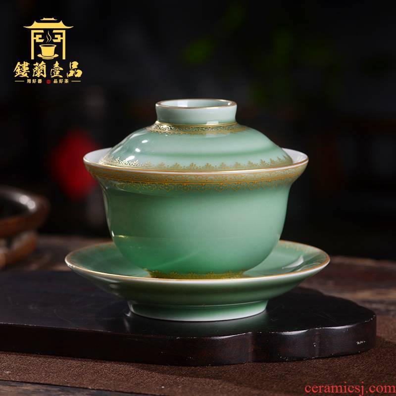 Pea green glazed pottery tureen single jingdezhen porcelain only three tureen tea cups kunfu tea ware bowl with cover a single