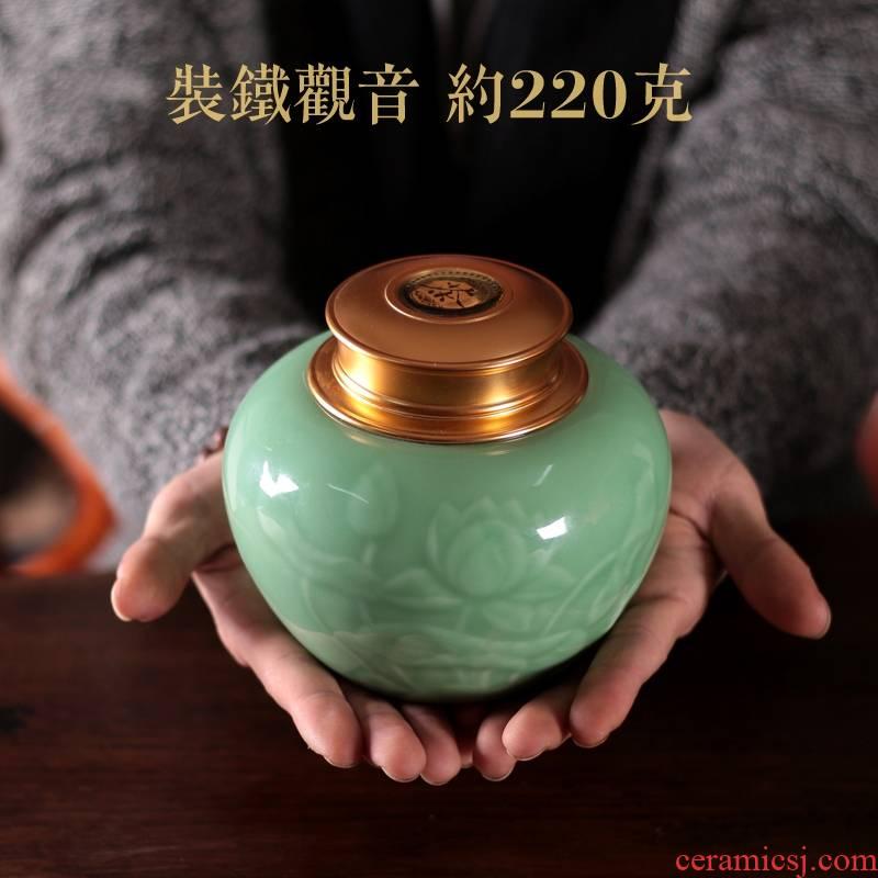 Qiao mu QYX tea pu 'er tea as cans ceramic metal portable household longquan celadon seal tank large tea