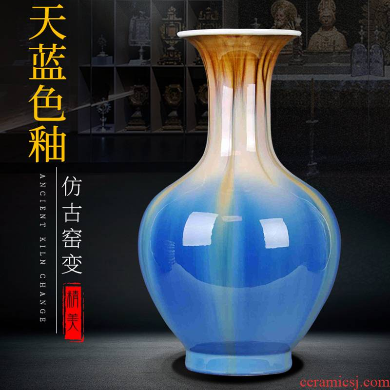 Blue vase of jingdezhen ceramics up with the new Chinese style household decorates sitting room classical handicraft furnishing articles flower arrangement