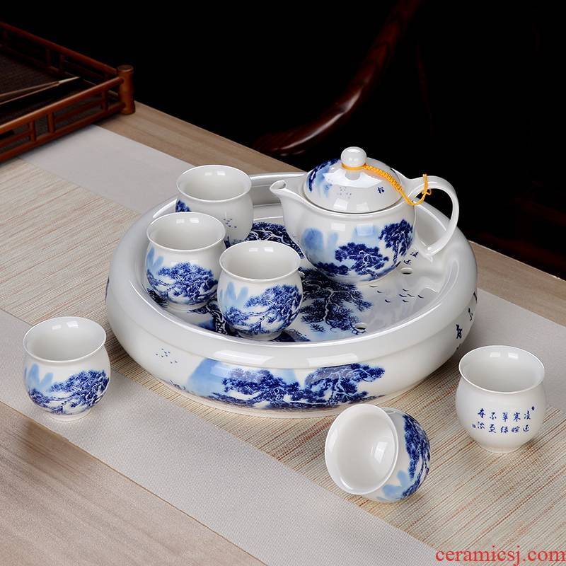 Double anti hot tea suit household jingdezhen hand - made kung fu tea set of blue and white porcelain cup insulation suits for