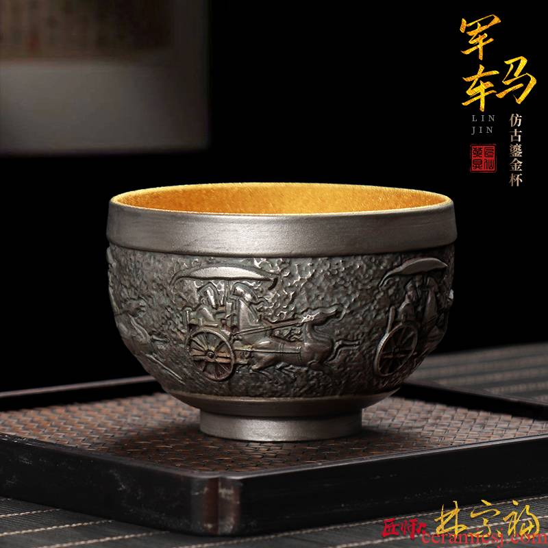 The Master artisan fairy Lin Zongfu retro gold cup tea cup, Master cup men 's large ceramic kung fu