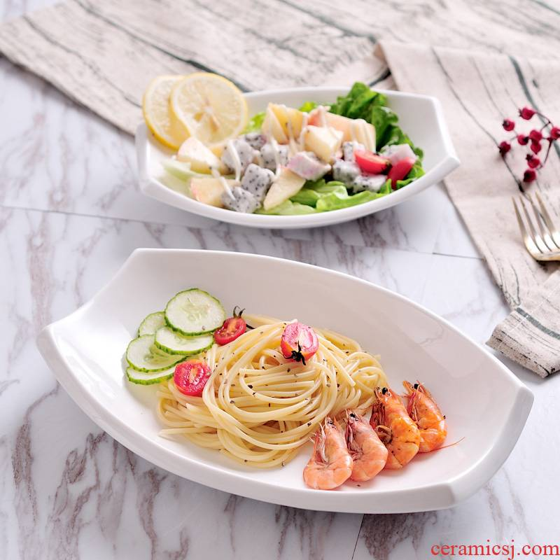 Creative ceramic dish pure western food dish plate special - shaped plates fuscescens plate of fruit salad plate hotel tableware