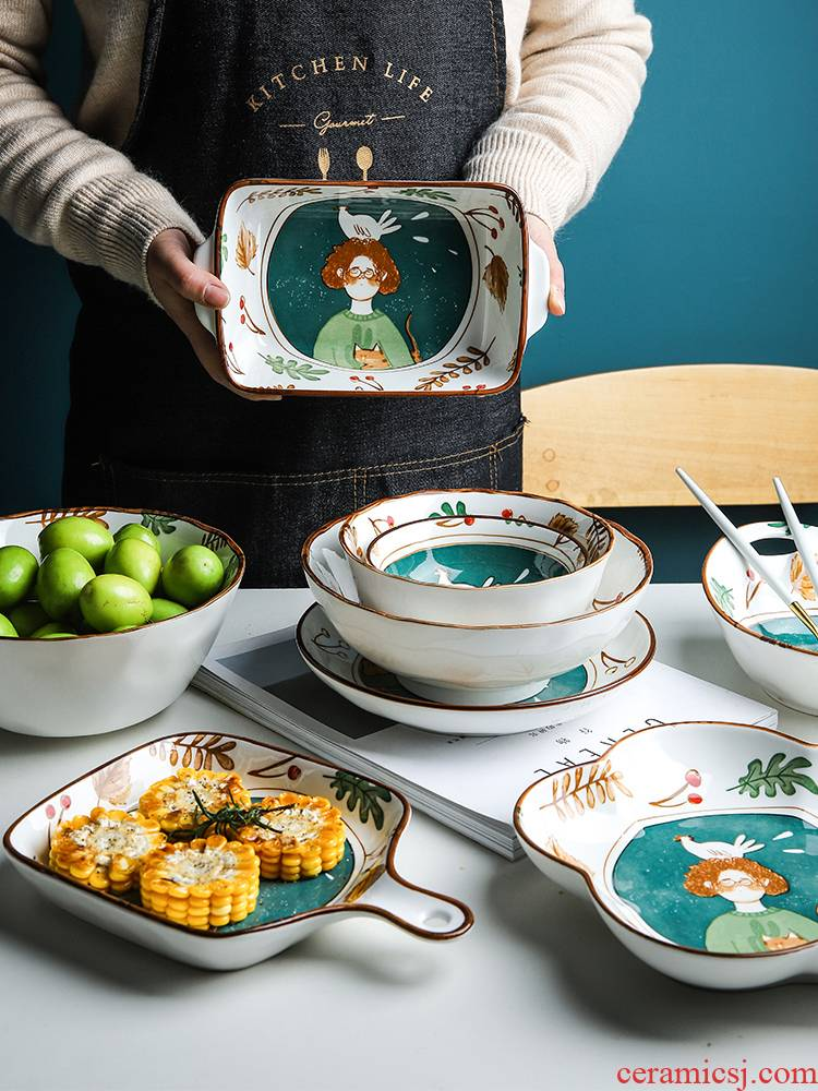 Creative express cartoon ceramic tableware suit rice bowl lotus expressions using baking bowl of soup bowl the pattern of such use