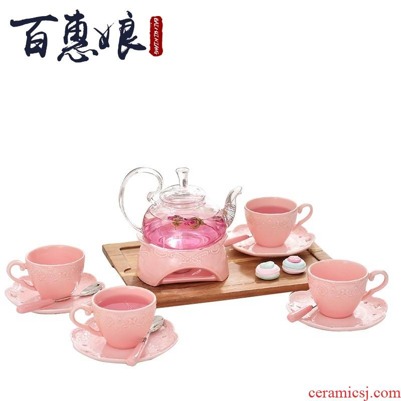 Housewife afternoon tea set (niang anaglyph ceramic glass heat - resisting teapot red camellia tea cup idea