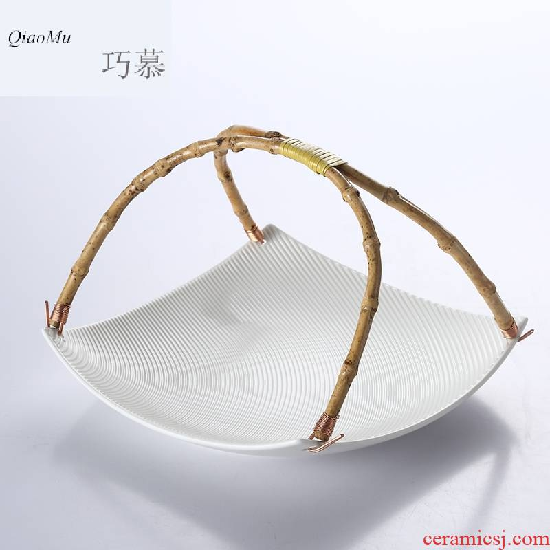 Qiao mu OC creative home sitting room tea table ceramic bowl portable fruit basket dessert plate dry fruit bowl dessert plate