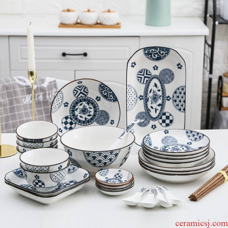 Under the Japanese blue and white glaze color ceramic tableware dishes chopsticks sets of household microwave bowl fish disk dishes a spoon