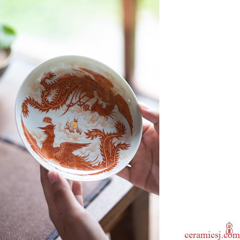 Wen - hua liu alum red phoenix double phoenix ChengXiang pot bearing jingdezhen all hand pot bearing fruit bowl tea saucer accessories