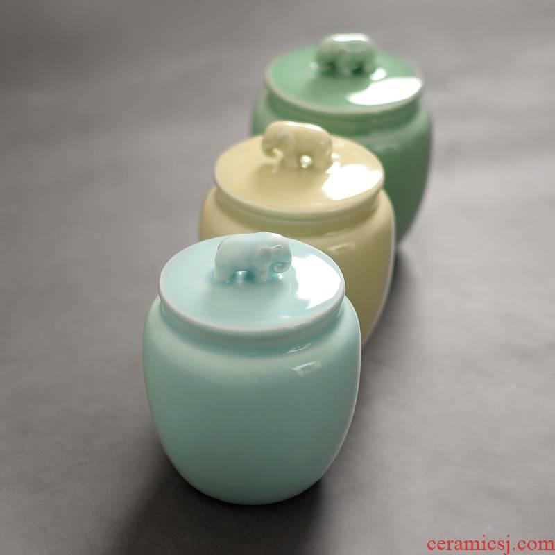 Qiao mu QYX longquan celadon hand - made tea caddy fixings warehouse large seal like a can of tea pu 'er tea POTS