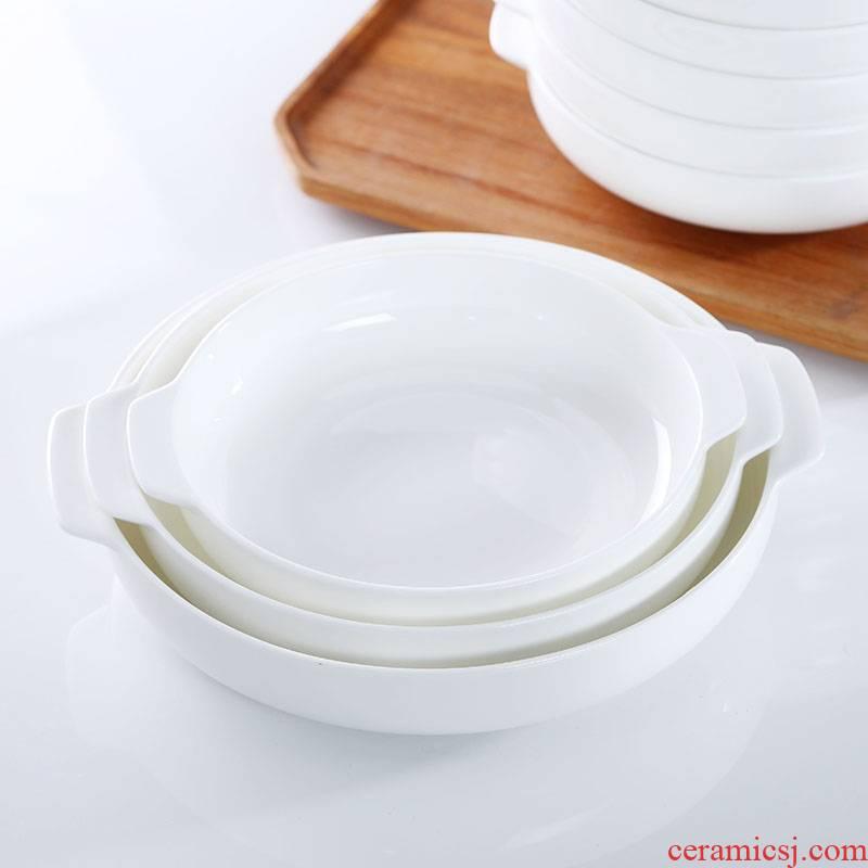 Ceramic dish ears deep dish household creative Japanese pure white ipads China soup plate baking dish dish dish