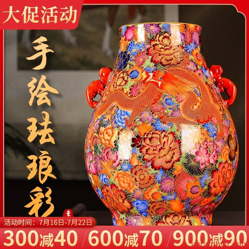 Jingdezhen ceramic vase furnishing articles the see colour enamel hand - made archaize longfeng sitting room TV ark to collect rich ancient frame