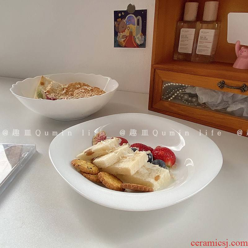 Boring dish South Chesapeake ins wind pure white ceramic bread plate oat breakfast tray was western dessert plate early coffee shop