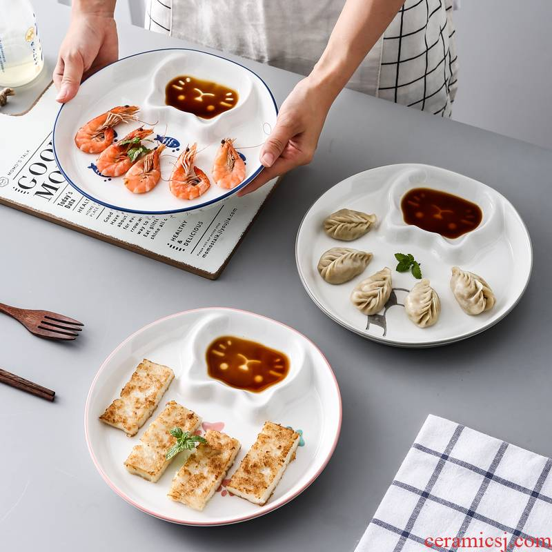 Circular plate with vinegar sauce dish home under the glaze color dishes dumplings means breakfast tray steamed dumpling ceramic chips