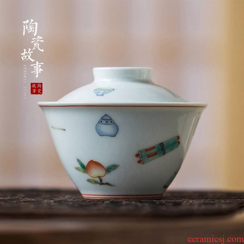 High - end checking hand - made ceramic story town tureen three tureen only a single green color four red hat to tureen